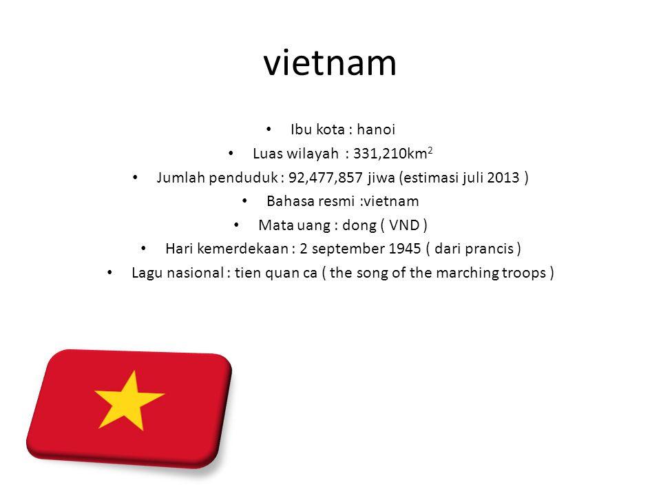 vietnam Ibu kota : hanoi Luas wilayah : 331,210km2