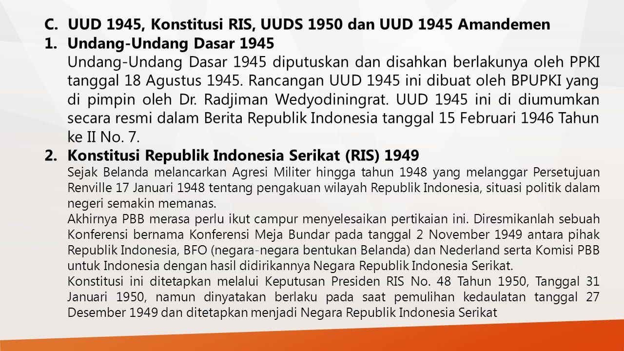 UUD 1945, Konstitusi RIS, UUDS 1950 dan UUD 1945 Amandemen