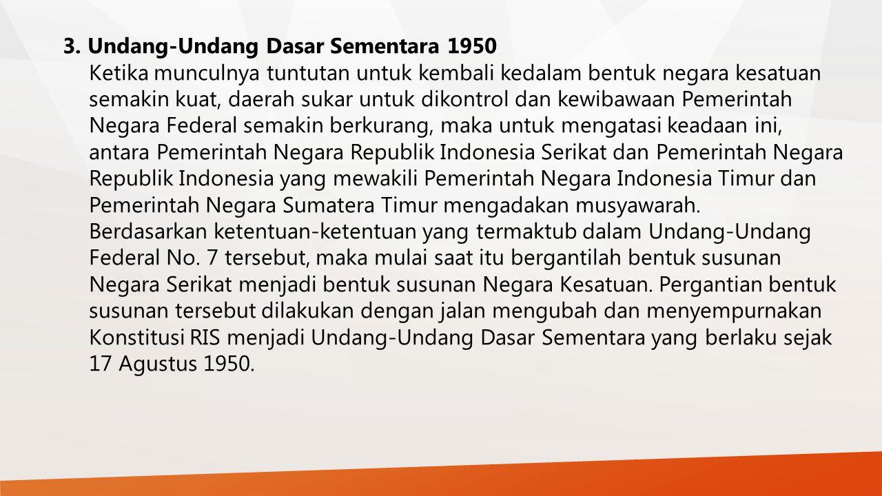 3. Undang-Undang Dasar Sementara 1950