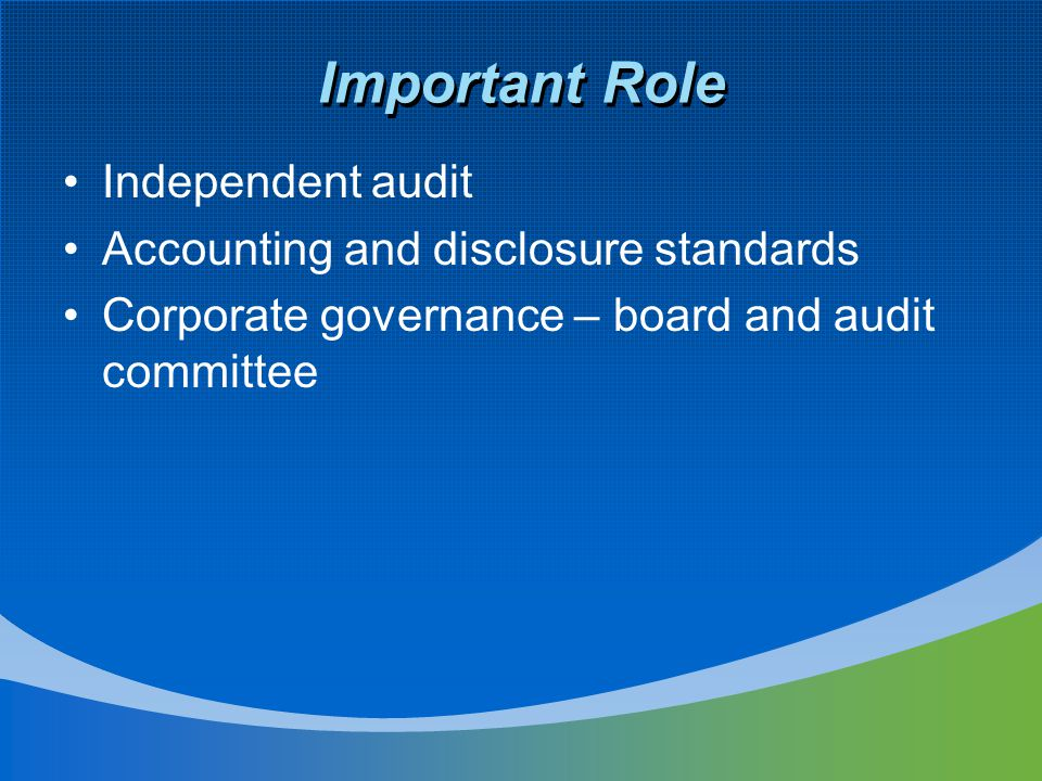 Important Role Independent audit Accounting and disclosure standards