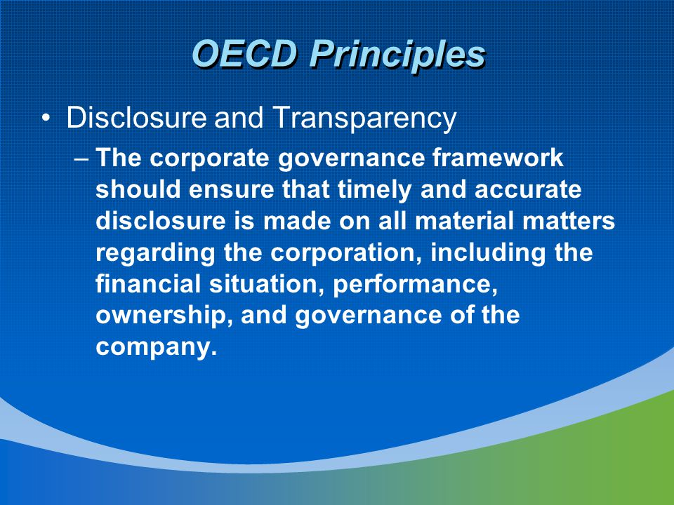 OECD Principles Disclosure and Transparency