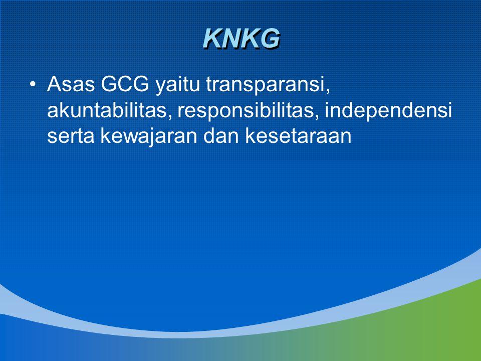 KNKG Asas GCG yaitu transparansi, akuntabilitas, responsibilitas, independensi serta kewajaran dan kesetaraan.