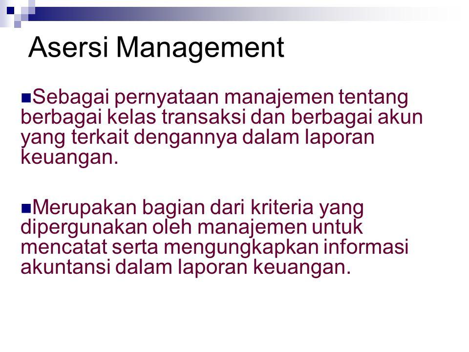 Asersi Management Sebagai pernyataan manajemen tentang berbagai kelas transaksi dan berbagai akun yang terkait dengannya dalam laporan keuangan.