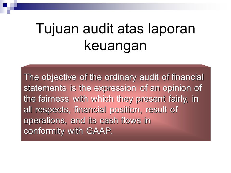 Tujuan audit atas laporan keuangan