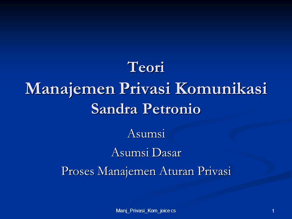Teori Manajemen Privasi Komunikasi Sandra Petronio