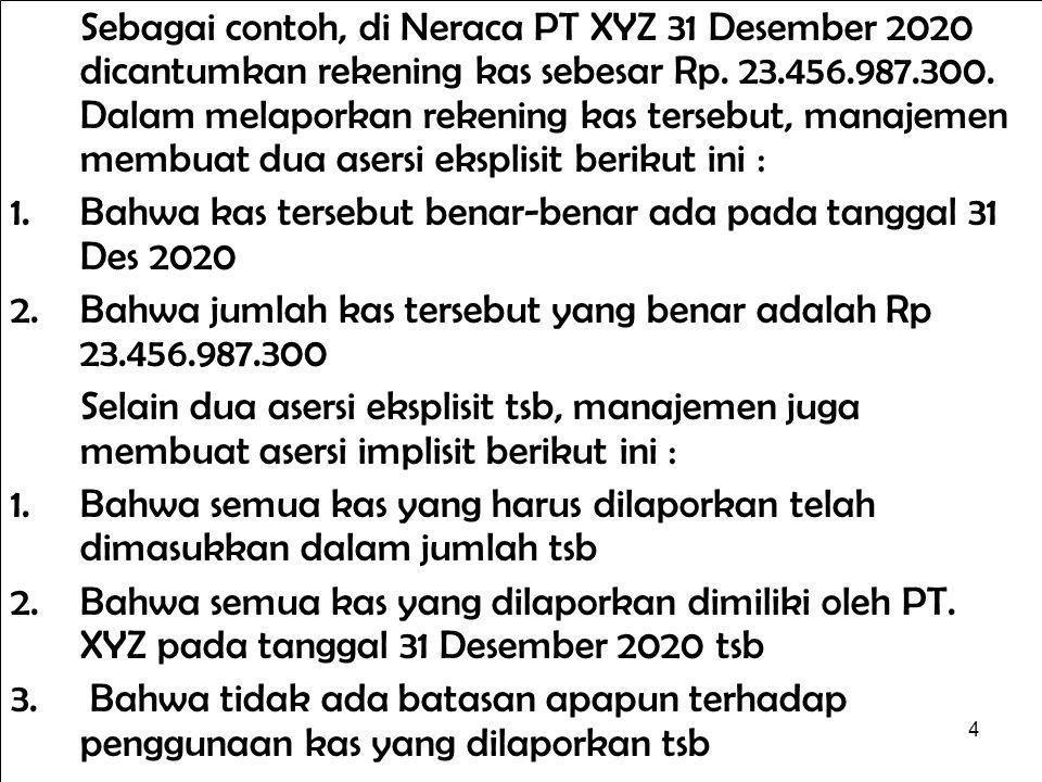 Sebagai contoh, di Neraca PT XYZ 31 Desember 2020 dicantumkan rekening kas sebesar Rp. 23.456.987.300. Dalam melaporkan rekening kas tersebut, manajemen membuat dua asersi eksplisit berikut ini :