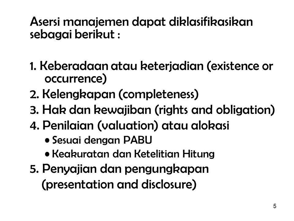 Asersi manajemen dapat diklasifikasikan sebagai berikut :