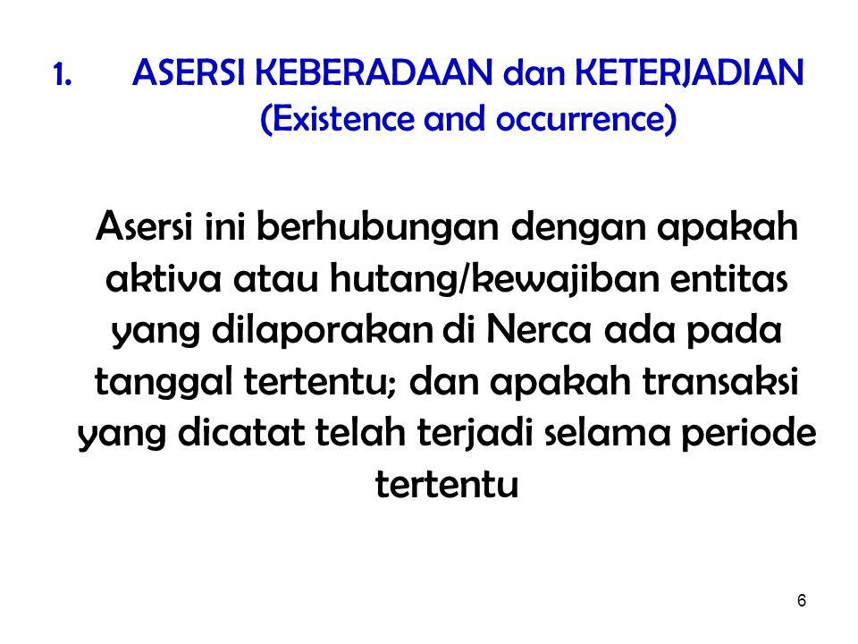 ASERSI KEBERADAAN dan KETERJADIAN (Existence and occurrence)