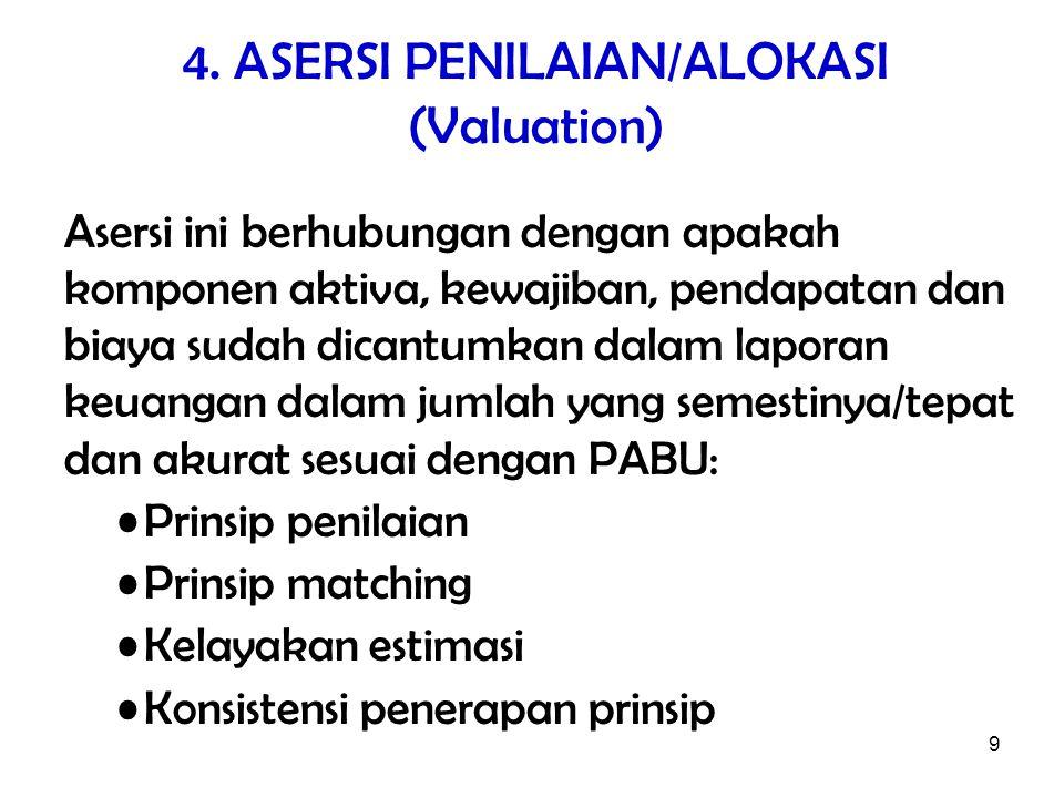 4. ASERSI PENILAIAN/ALOKASI (Valuation)