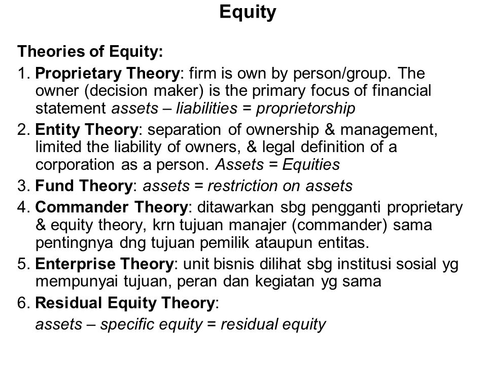 Equity Theories of Equity: