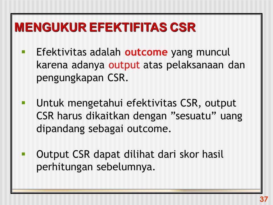 MENGUKUR EFEKTIFITAS CSR