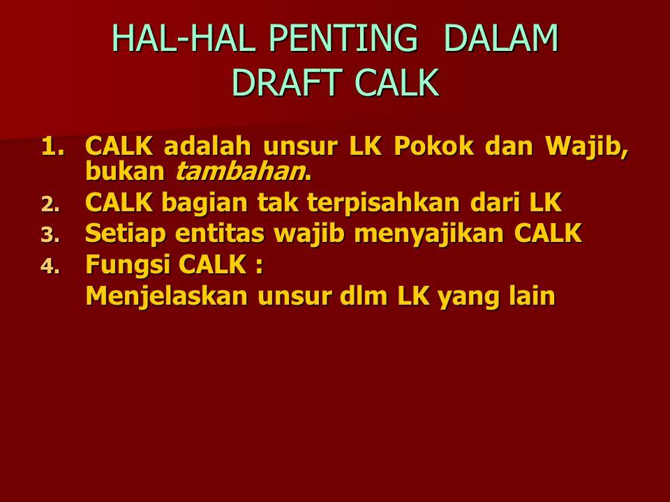 HAL-HAL PENTING DALAM DRAFT CALK