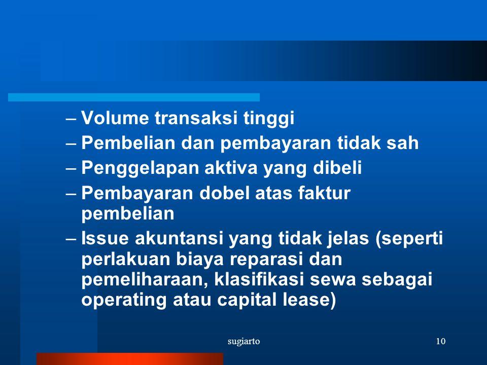 Volume transaksi tinggi Pembelian dan pembayaran tidak sah