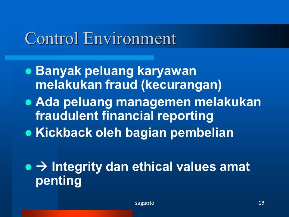 Control Environment Banyak peluang karyawan melakukan fraud (kecurangan) Ada peluang managemen melakukan fraudulent financial reporting.