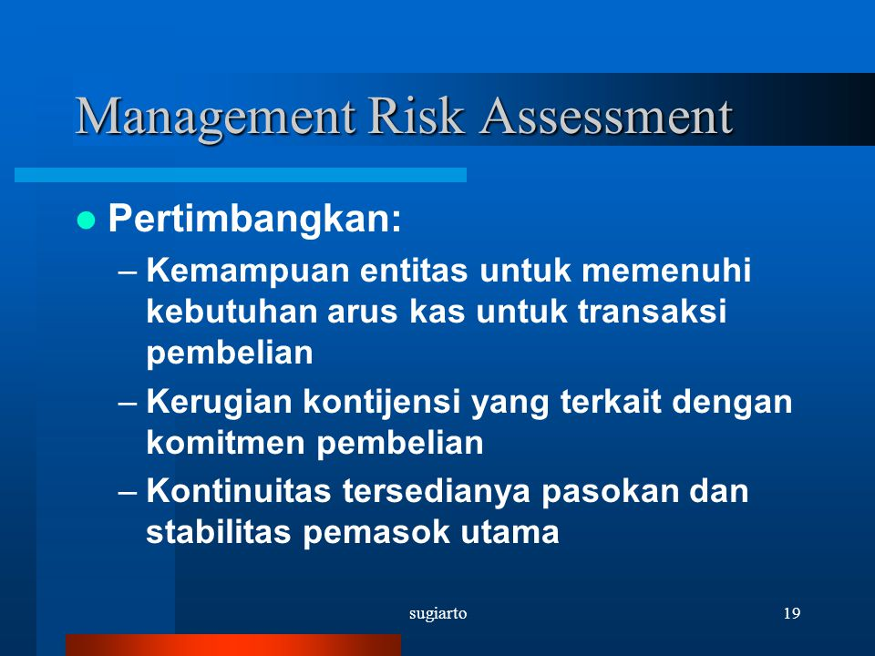 Management Risk Assessment
