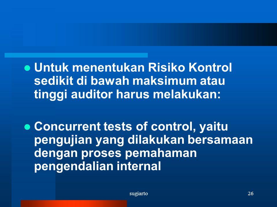 Untuk menentukan Risiko Kontrol sedikit di bawah maksimum atau tinggi auditor harus melakukan: