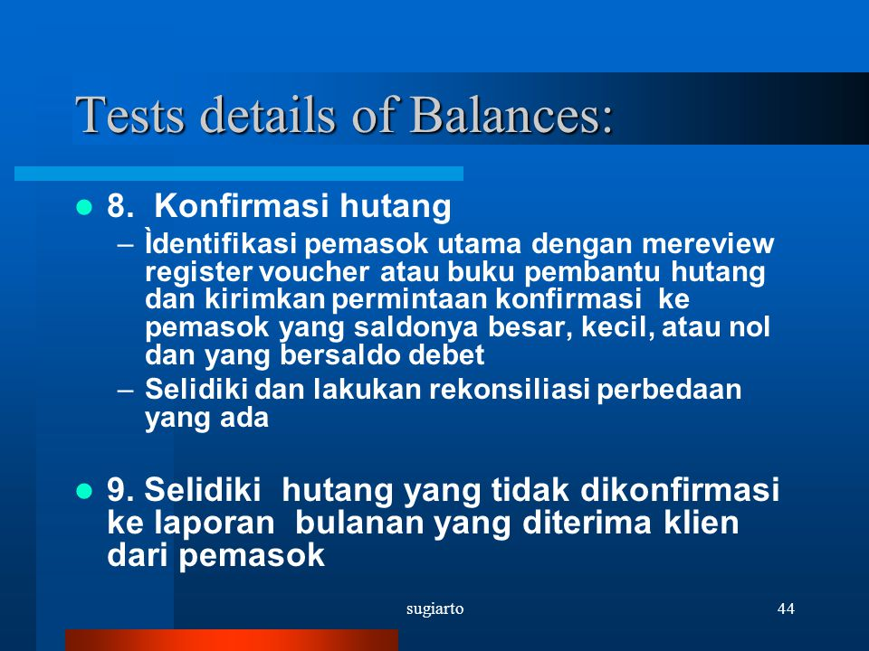 Tests details of Balances: