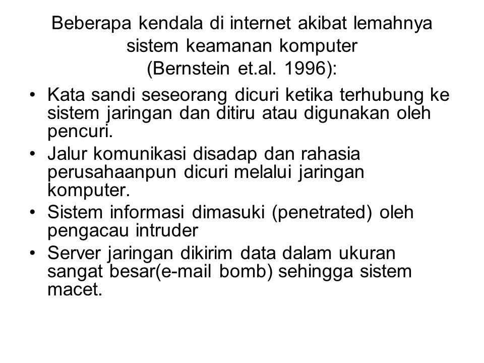 Beberapa kendala di internet akibat lemahnya sistem keamanan komputer (Bernstein et.al. 1996):