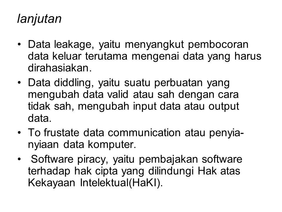 lanjutan Data leakage, yaitu menyangkut pembocoran data keluar terutama mengenai data yang harus dirahasiakan.