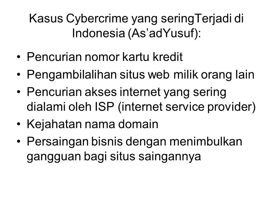 Kasus Cybercrime yang seringTerjadi di Indonesia (As'adYusuf):