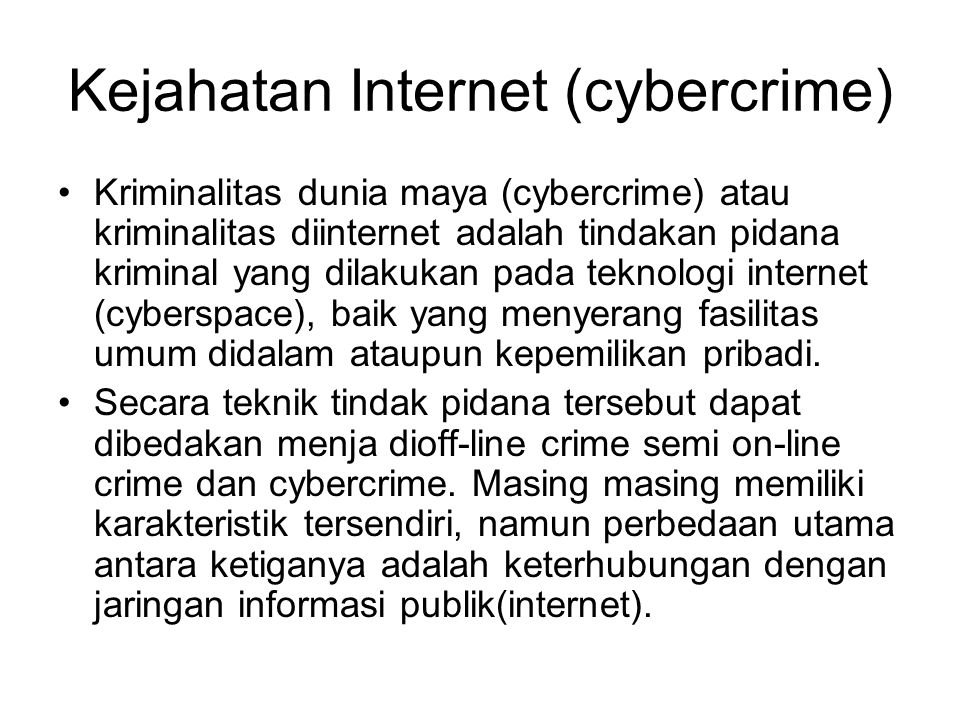 Kejahatan Internet (cybercrime)