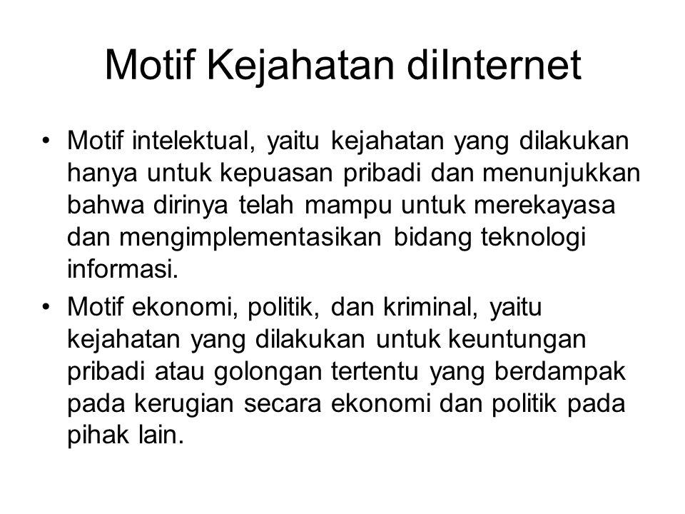 Motif Kejahatan diInternet