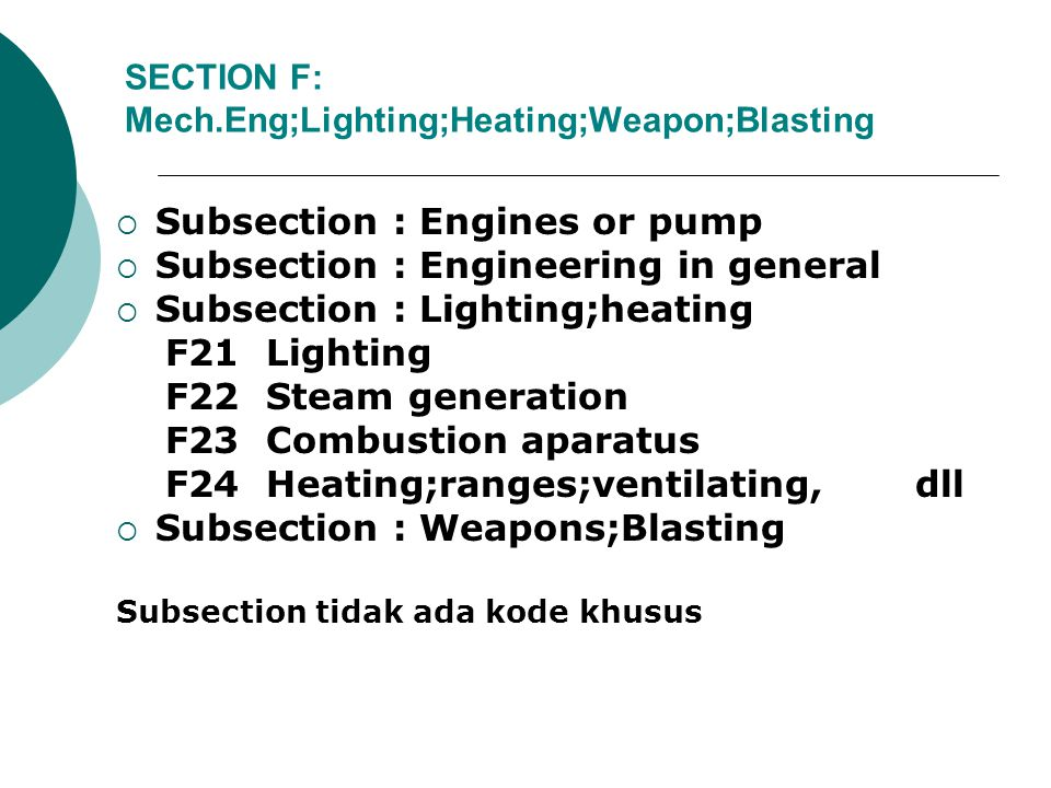 SECTION F: Mech.Eng;Lighting;Heating;Weapon;Blasting