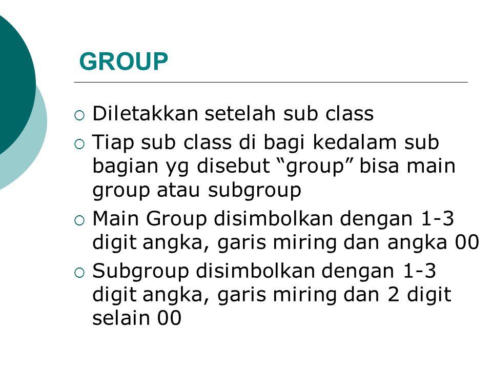 GROUP Diletakkan setelah sub class