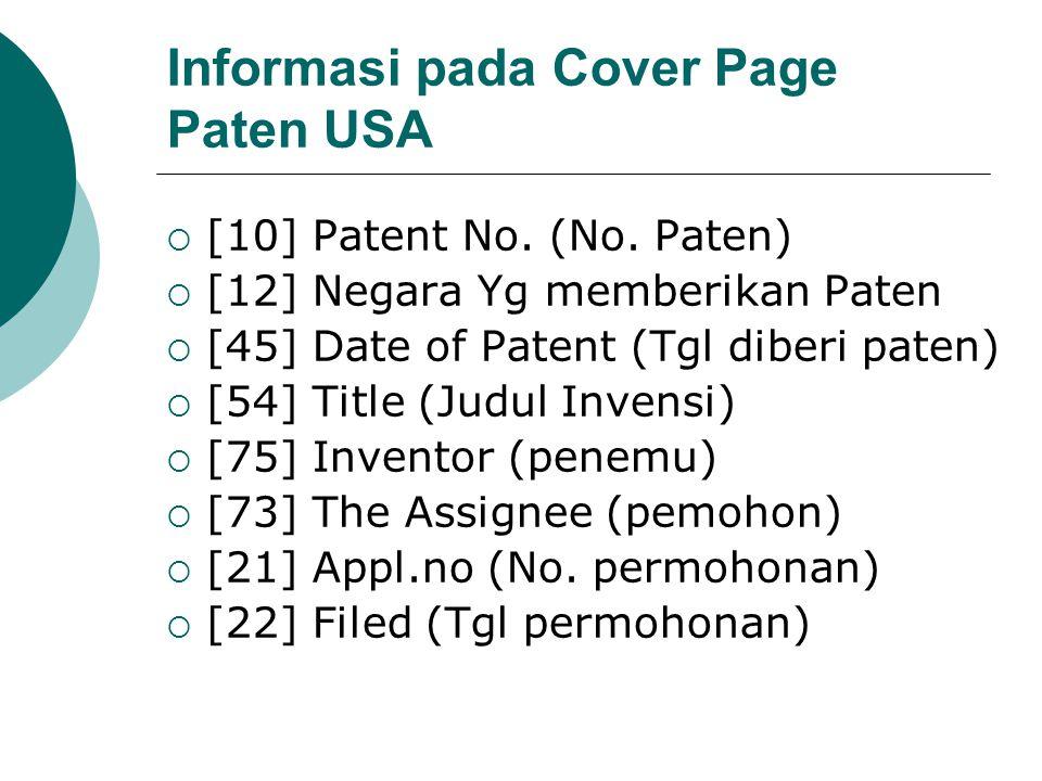 Informasi pada Cover Page Paten USA