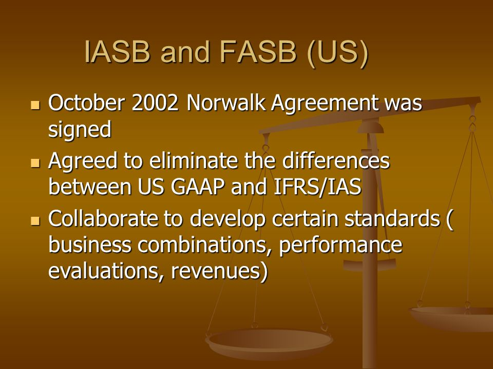 IASB and FASB (US) October 2002 Norwalk Agreement was signed