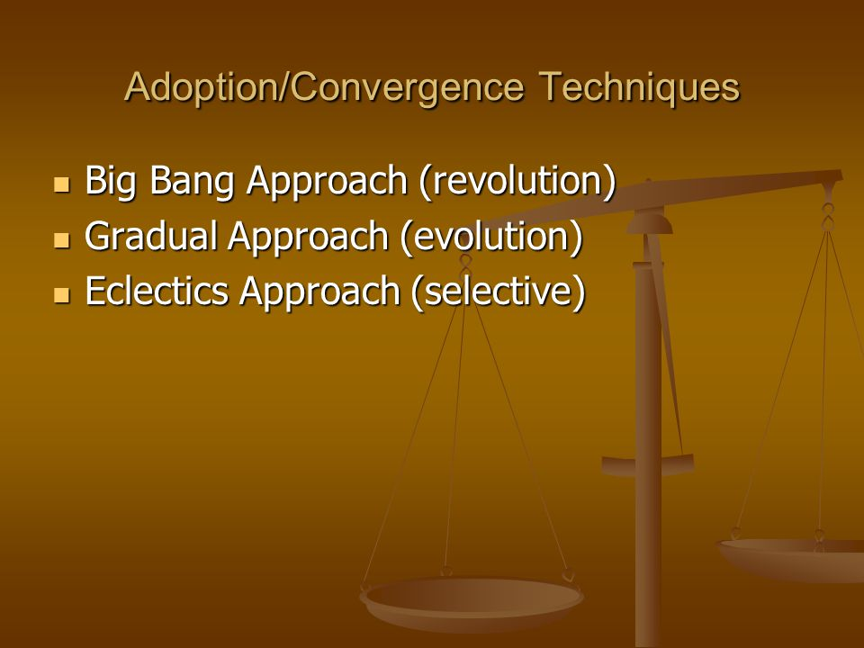 Adoption/Convergence Techniques