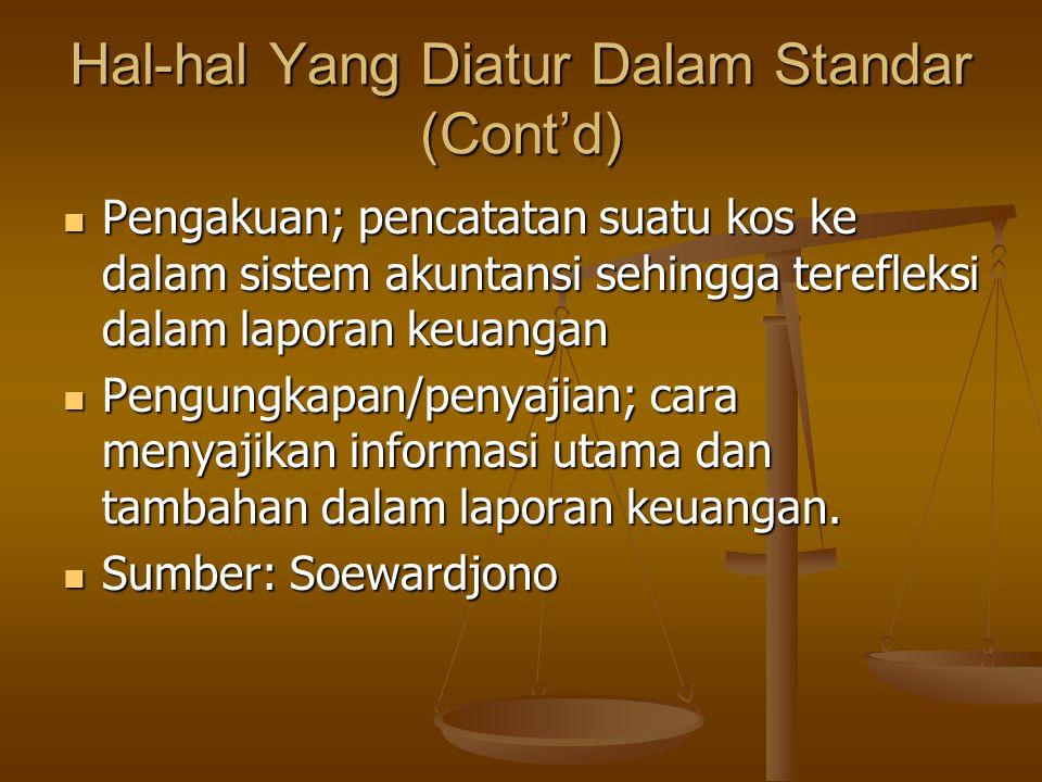 Hal-hal Yang Diatur Dalam Standar (Cont'd)