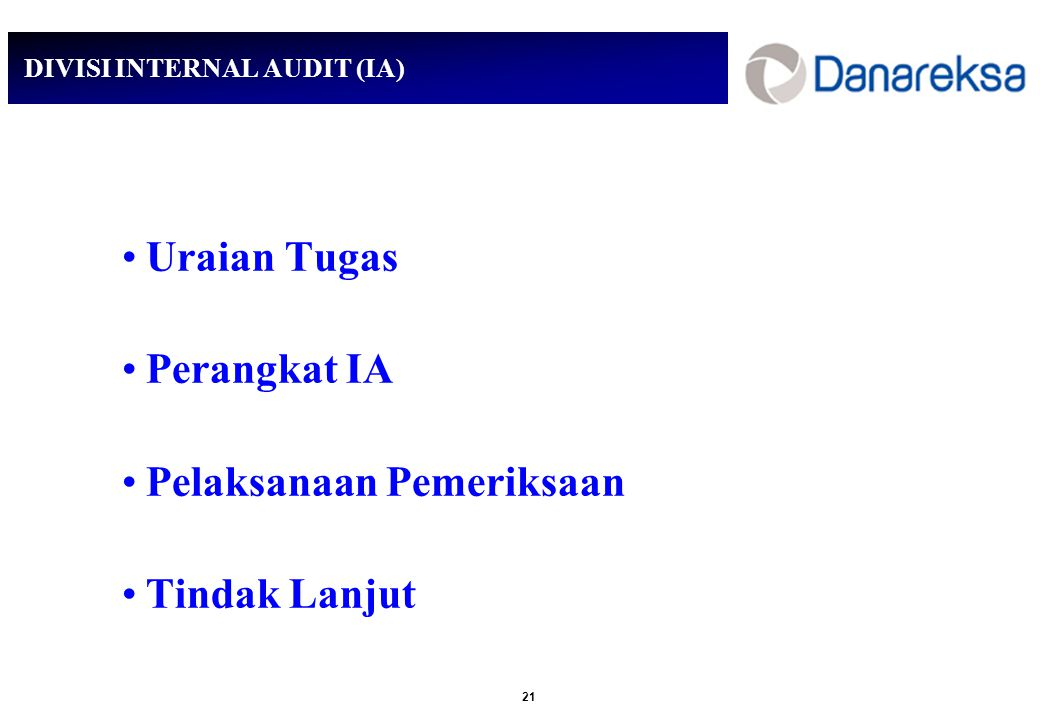DIVISI INTERNAL AUDIT (IA)