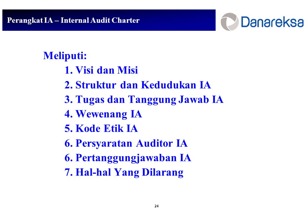 Perangkat IA – Internal Audit Charter