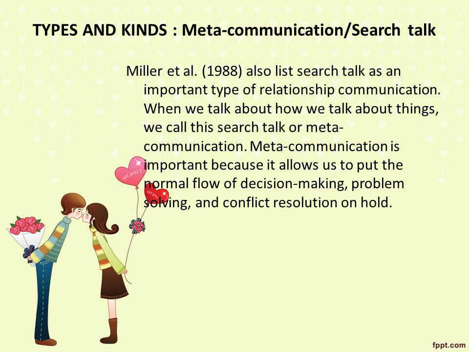 TYPES AND KINDS : Meta-communication/Search talk
