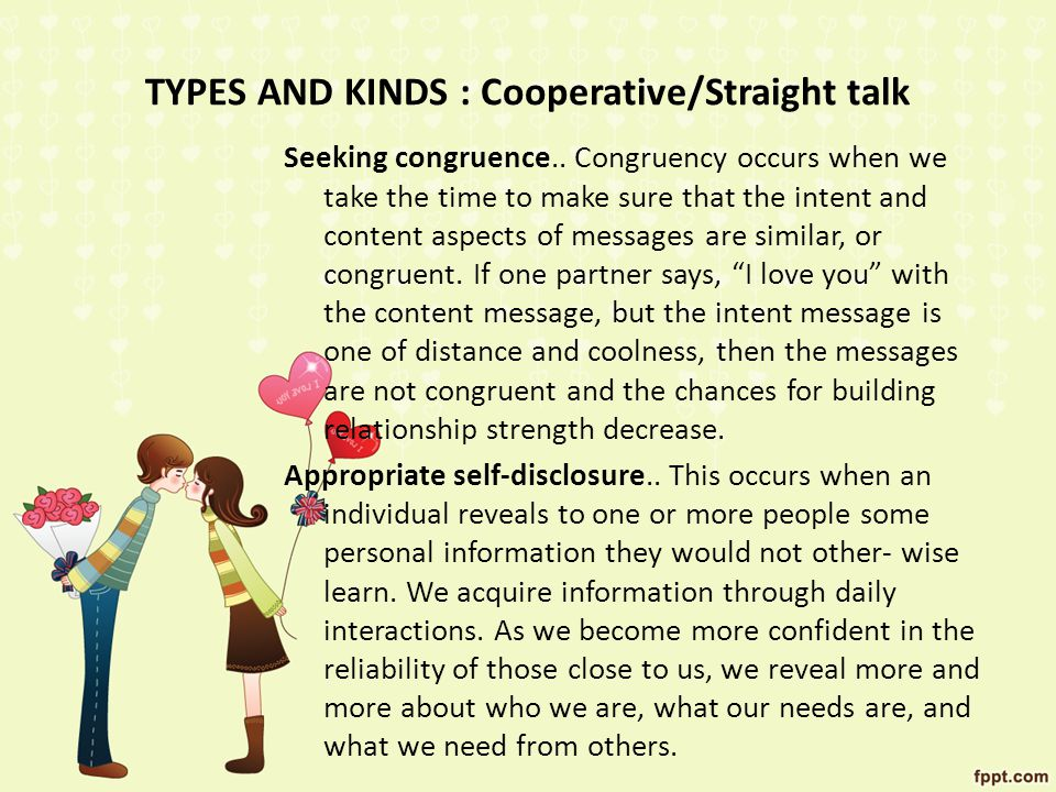 TYPES AND KINDS : Cooperative/Straight talk
