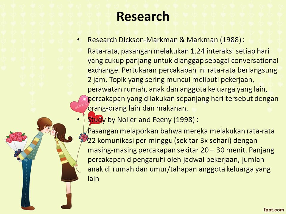 Research Research Dickson-Markman & Markman (1988) :