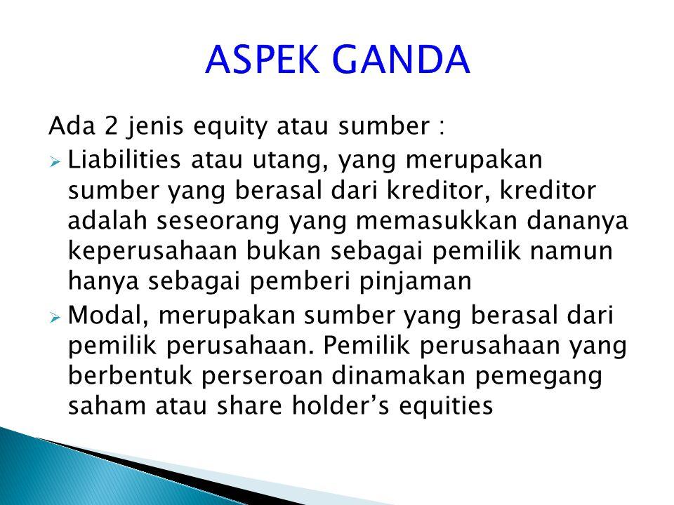 ASPEK GANDA Ada 2 jenis equity atau sumber :