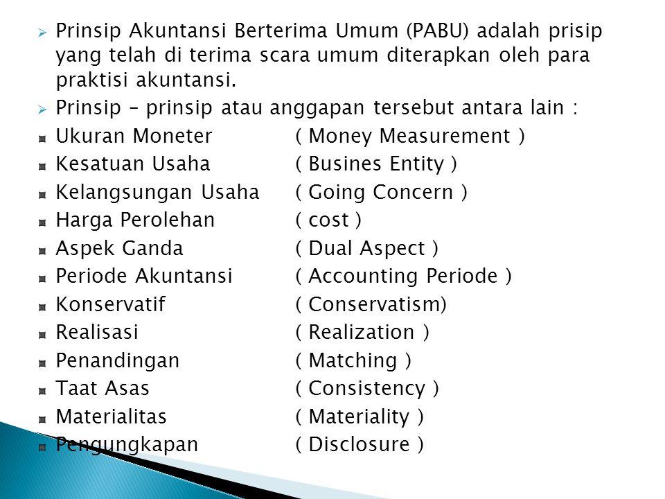 Prinsip Akuntansi Berterima Umum (PABU) adalah prisip yang telah di terima scara umum diterapkan oleh para praktisi akuntansi.
