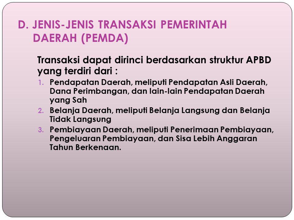 D. JENIS-JENIS TRANSAKSI PEMERINTAH DAERAH (PEMDA)