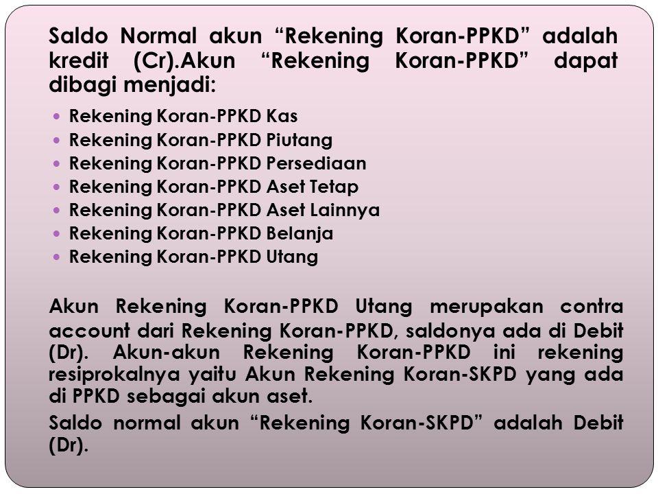 Saldo Normal akun Rekening Koran-PPKD adalah kredit (Cr)