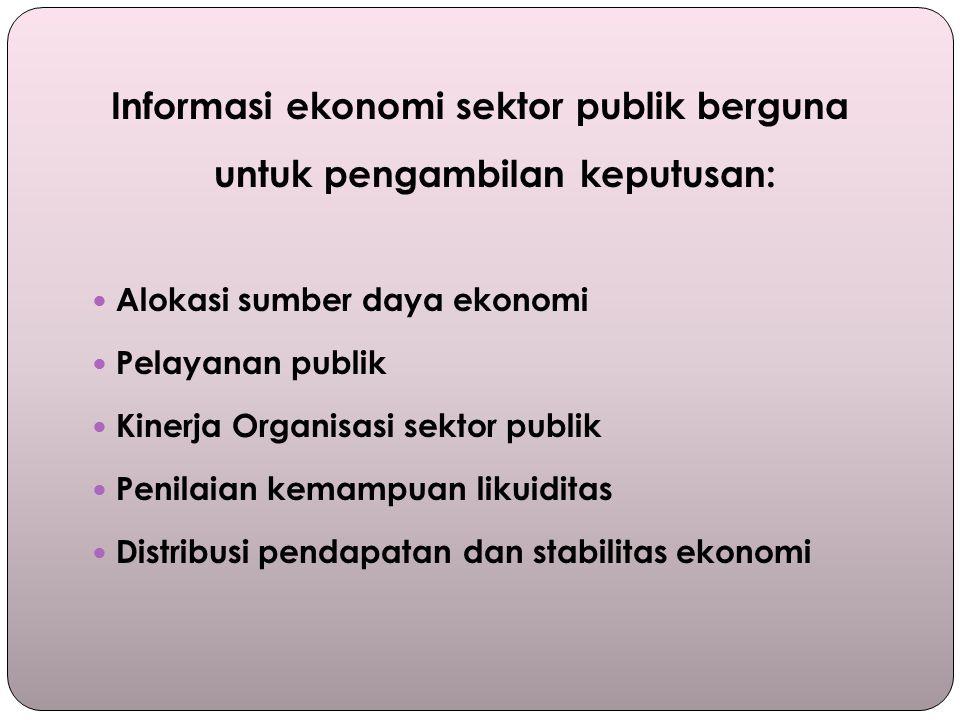 Informasi ekonomi sektor publik berguna untuk pengambilan keputusan: