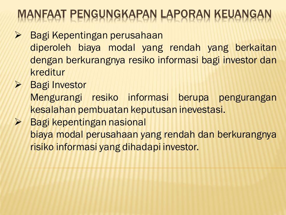 MANFAAT Pengungkapan laporan keuangan