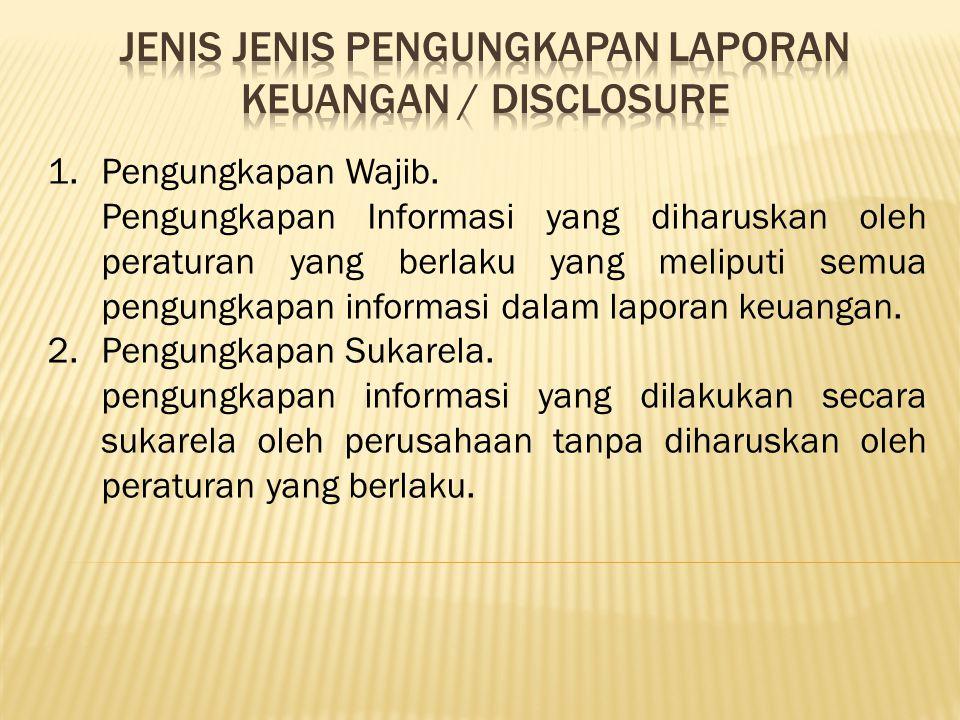 JENIS JENIS Pengungkapan laporan keuangan / DISCLOSURE