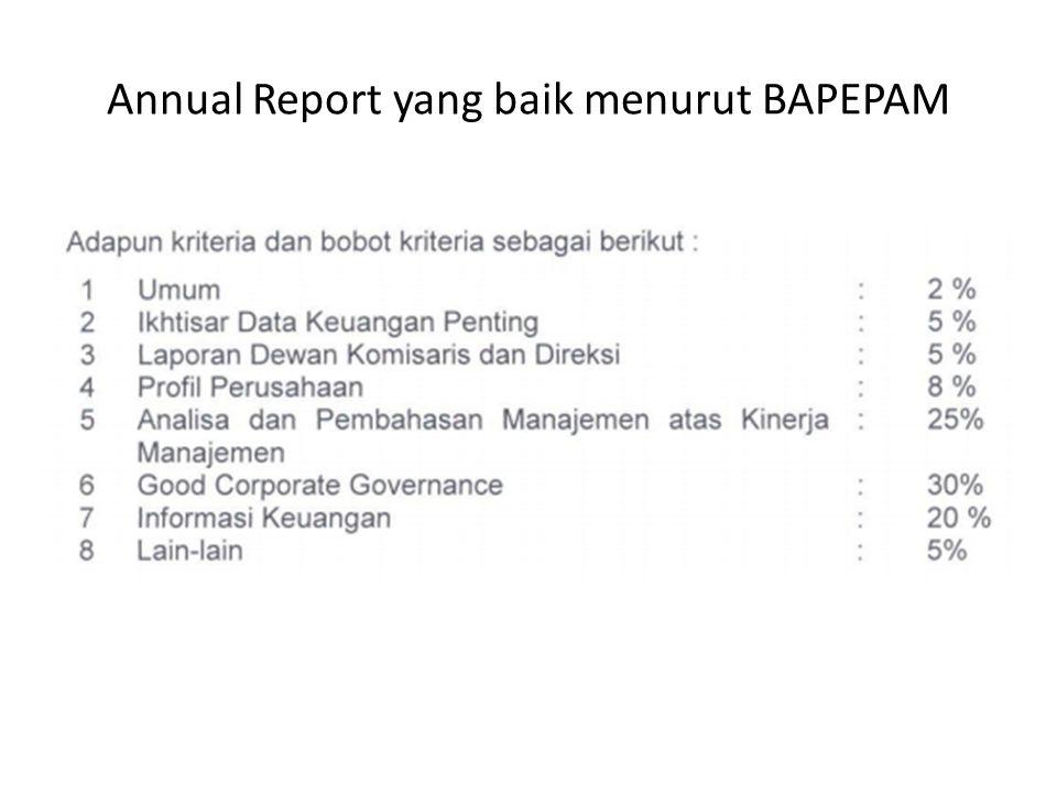 Annual Report yang baik menurut BAPEPAM