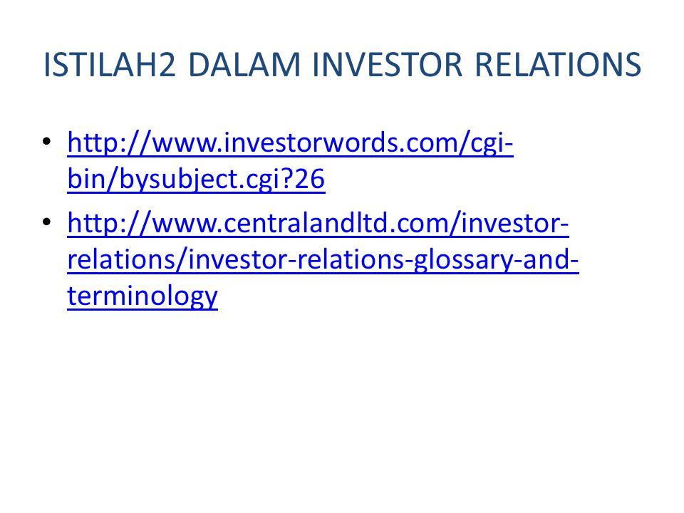 ISTILAH2 DALAM INVESTOR RELATIONS