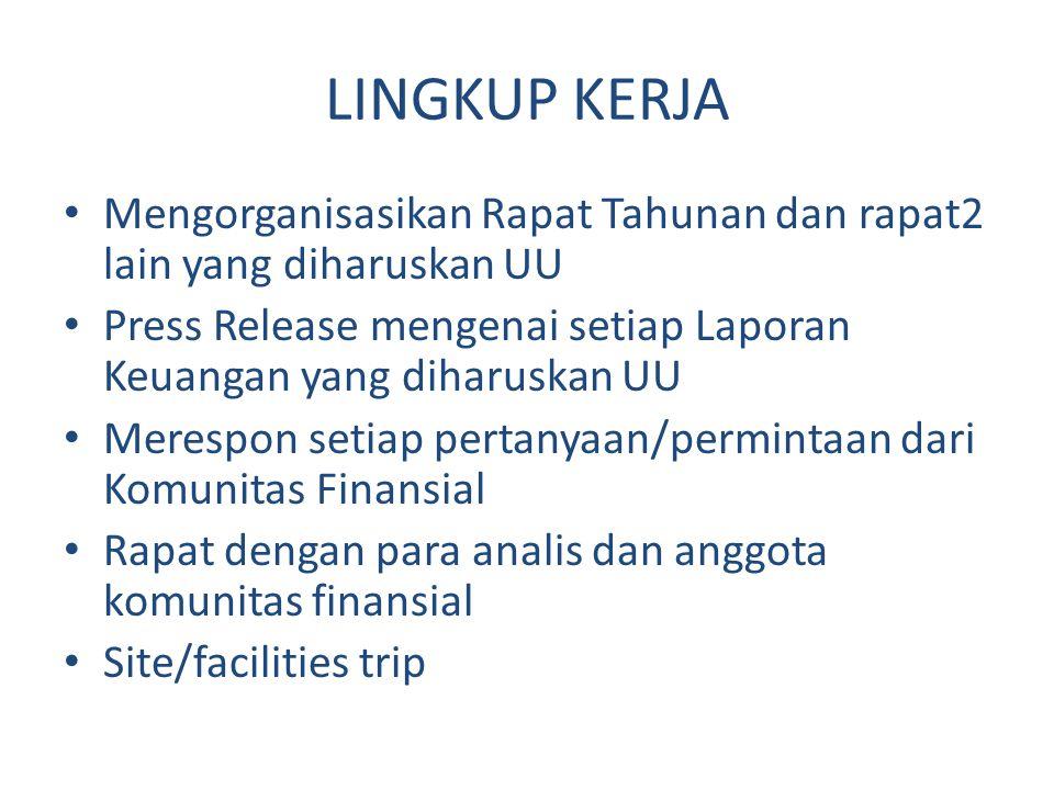 LINGKUP KERJA Mengorganisasikan Rapat Tahunan dan rapat2 lain yang diharuskan UU. Press Release mengenai setiap Laporan Keuangan yang diharuskan UU.