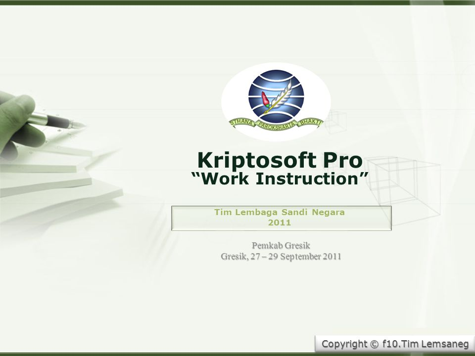 Kriptosoft Pro Work Instruction