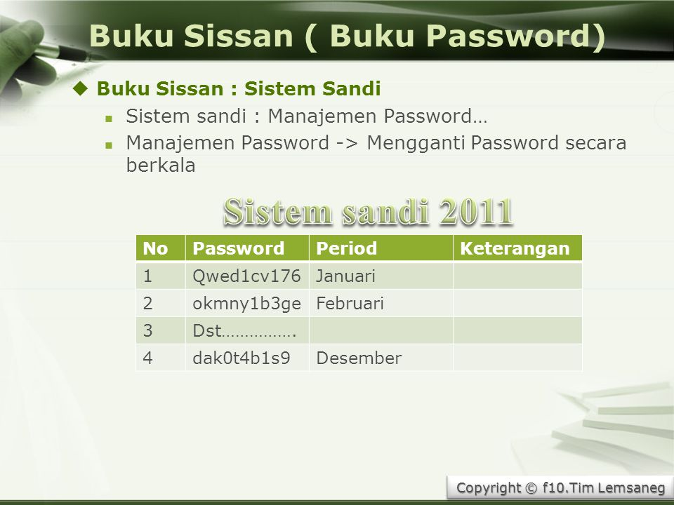 Buku Sissan ( Buku Password)