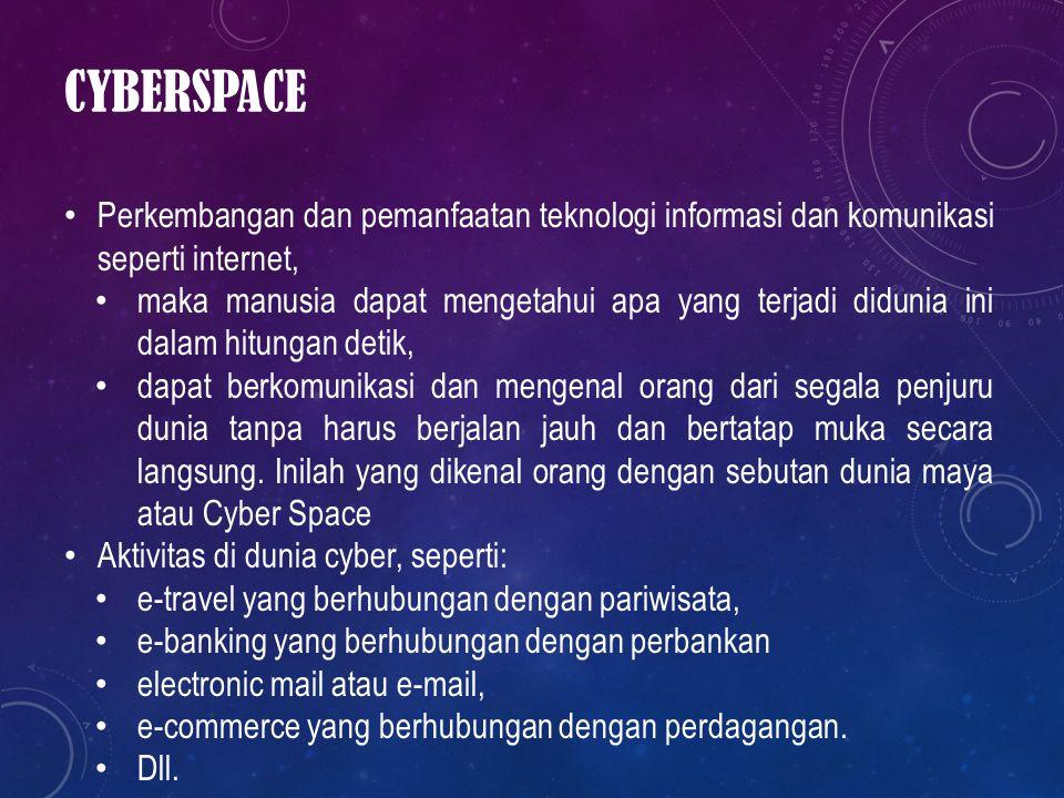 Cyberspace Perkembangan dan pemanfaatan teknologi informasi dan komunikasi seperti internet,